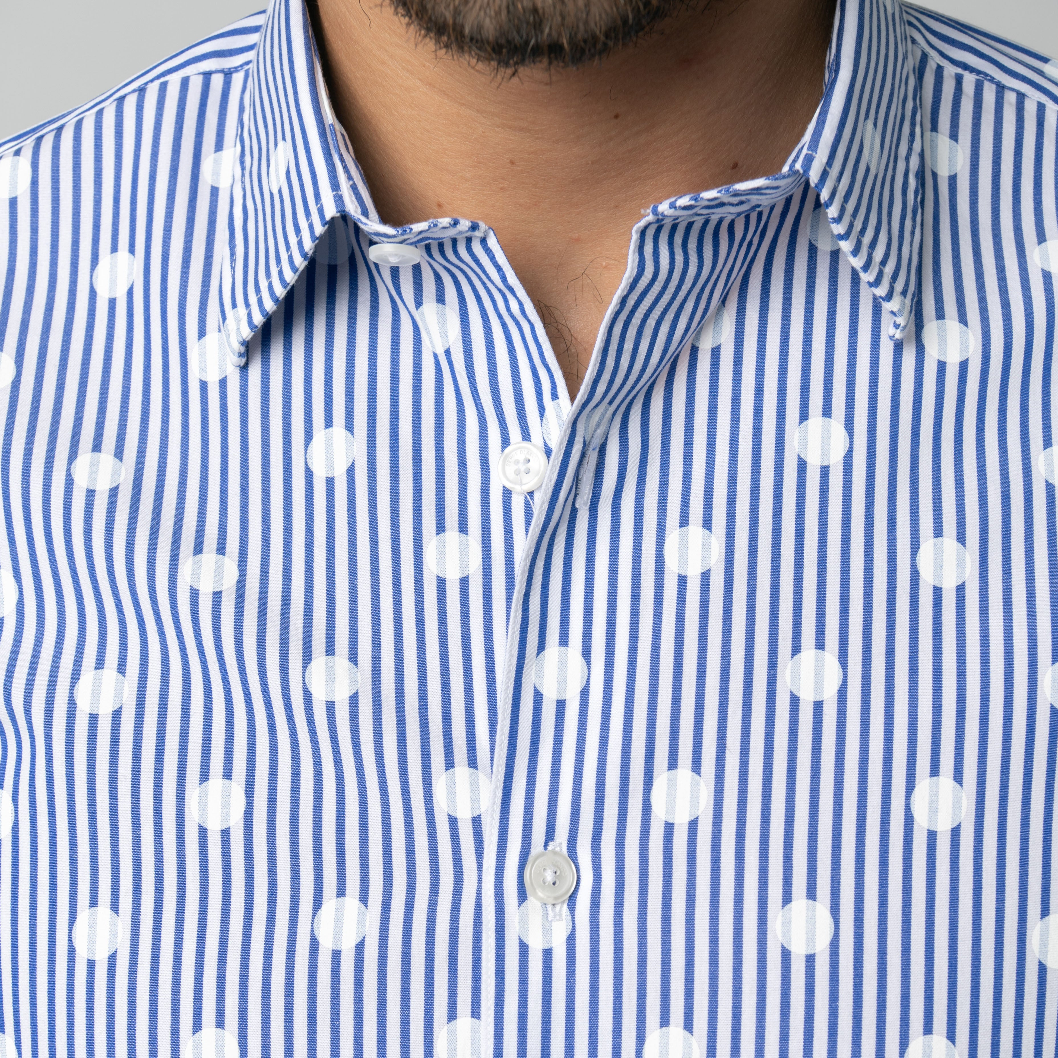 Galaxie White Dot Shirt: Blue Pinstripe