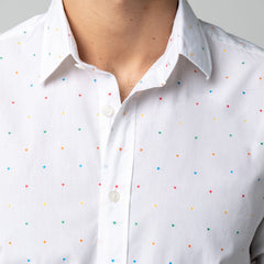 Multi-colored Heart Print Shirt: Off White