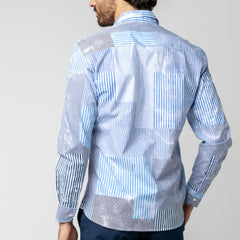 Patchwork Print Shirt: Aged Blue