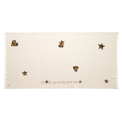 Star & Heart Patch Beach Towel: Linen