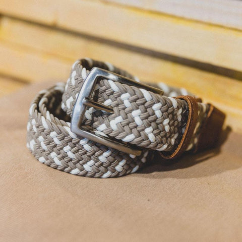 Leather/Canvas Belt: Off White
