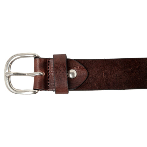 Leather Belt: Old Looking-Studed End