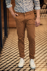 Cotton Chino Stretch Pant: Bronze
