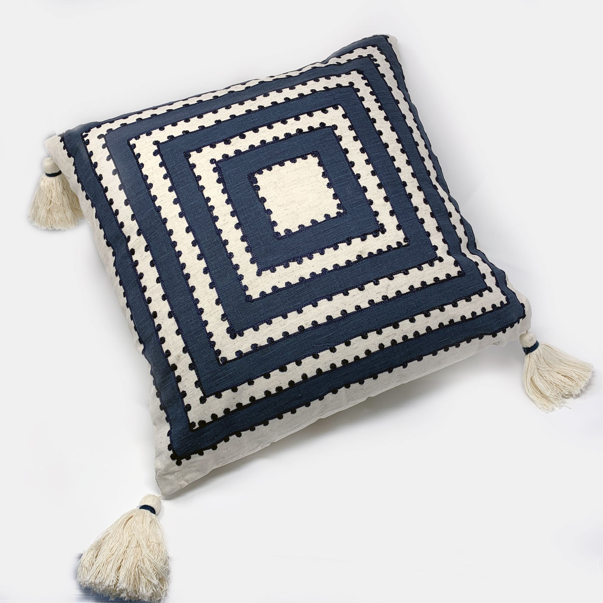 Blue & White Embroidered Pillow: 18 x 18""