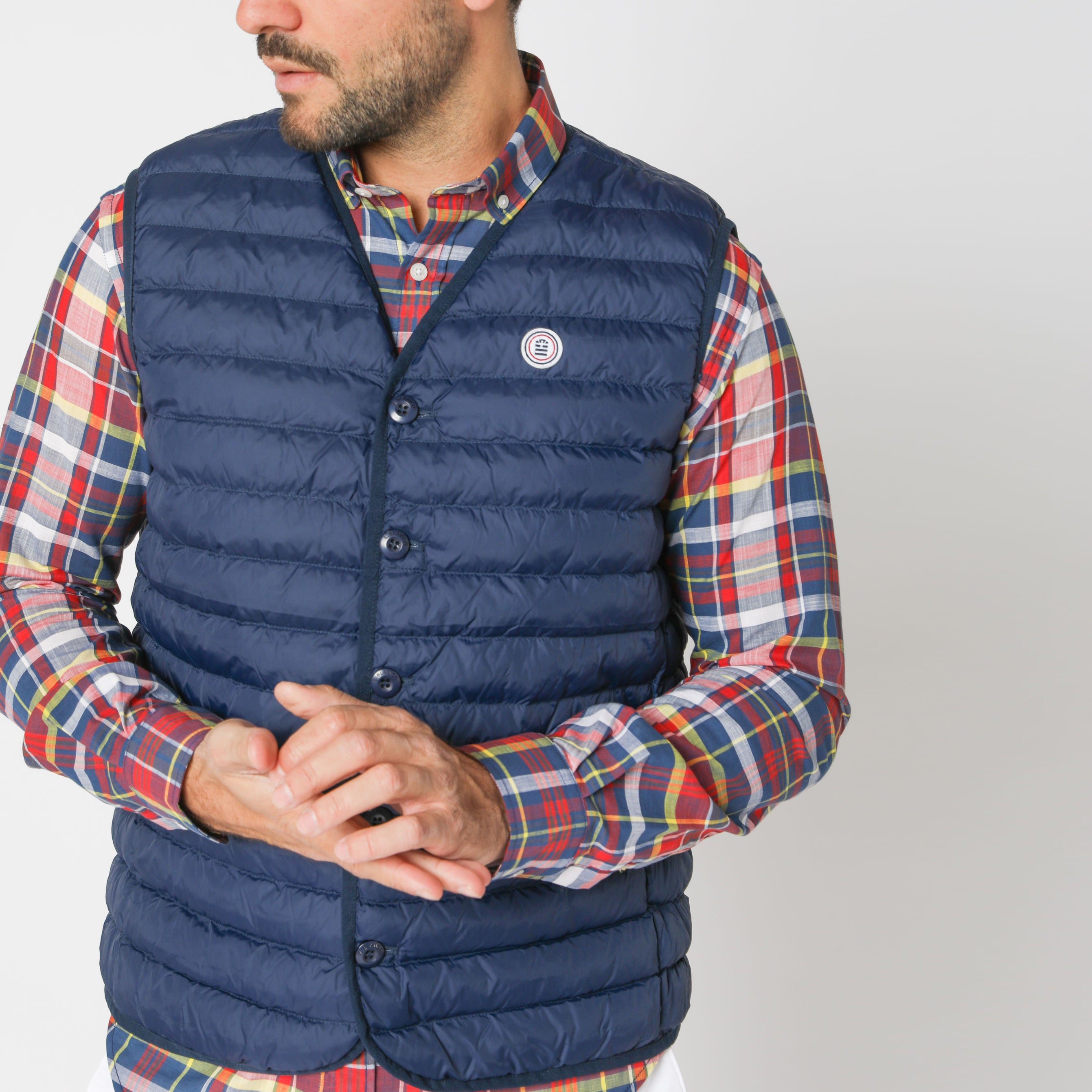 Edward Quilted Down-Alt Vest: Marine