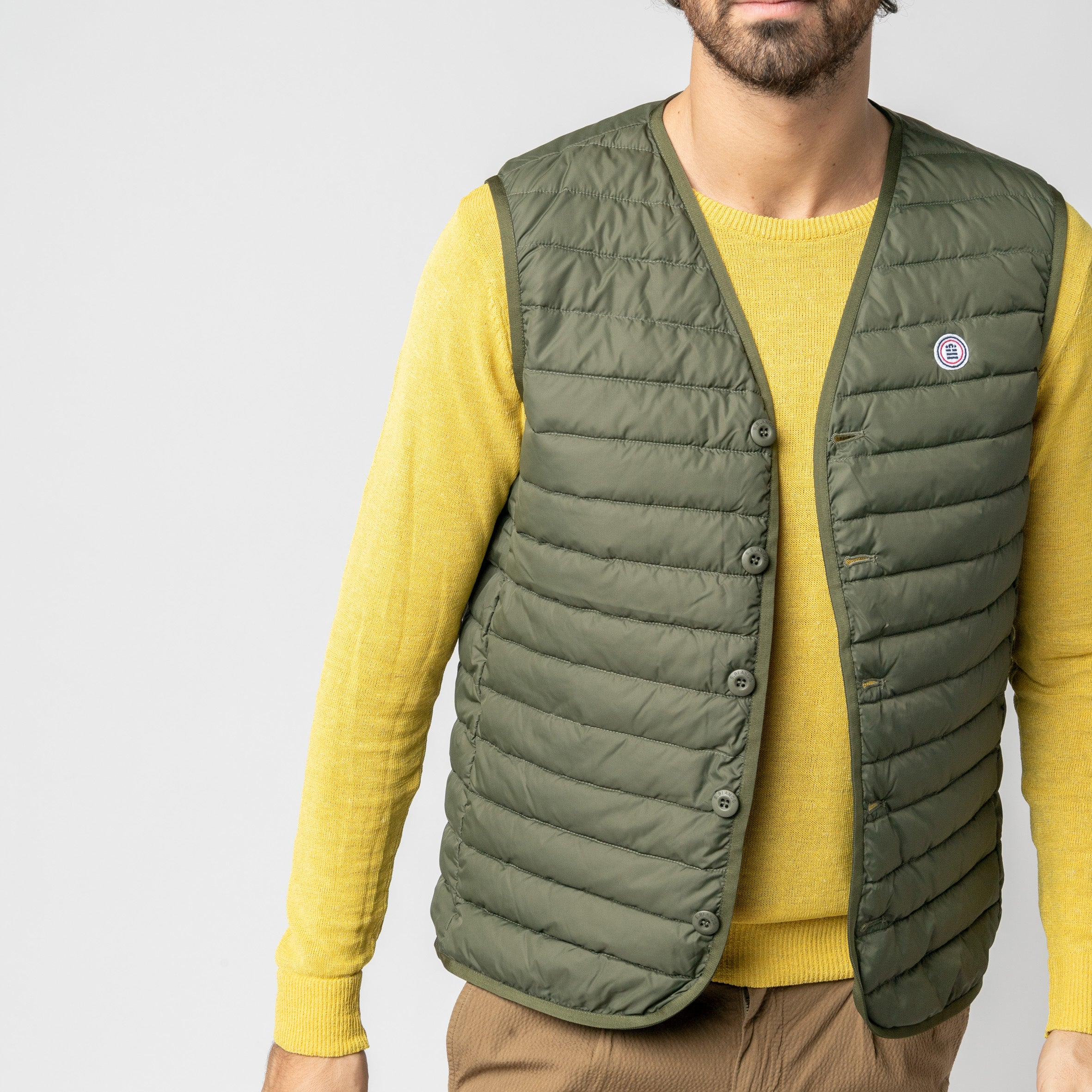 Edward Quilted Down-Alt Vest: Khaki