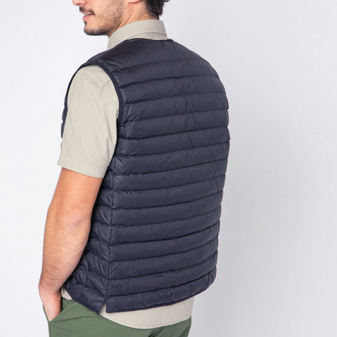 Edward Quilted Down-Alt Vest: Indigo