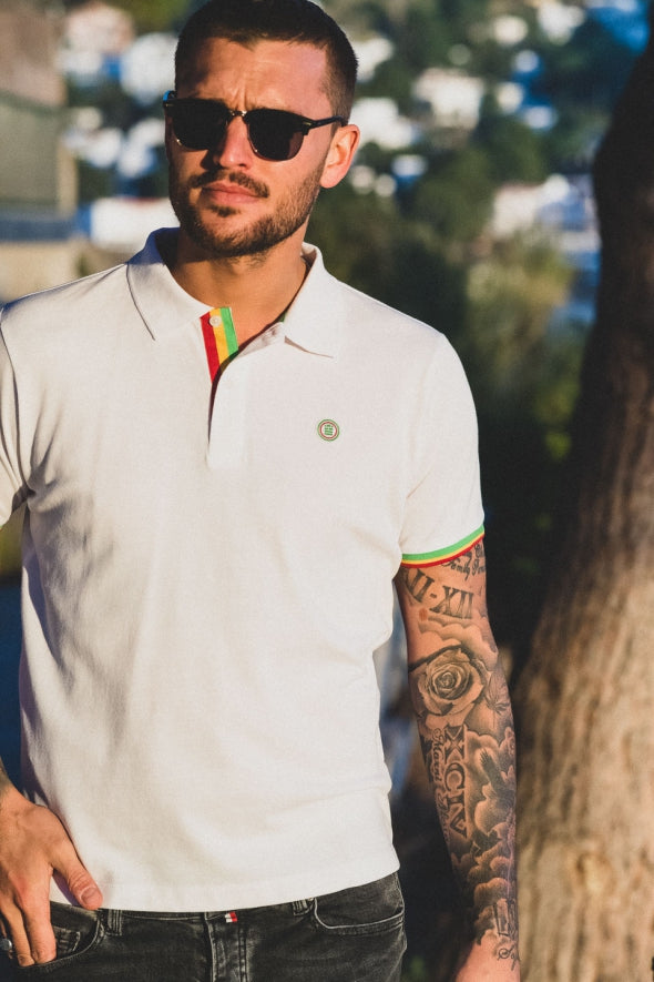 Polo with Tri-Color Bands; White