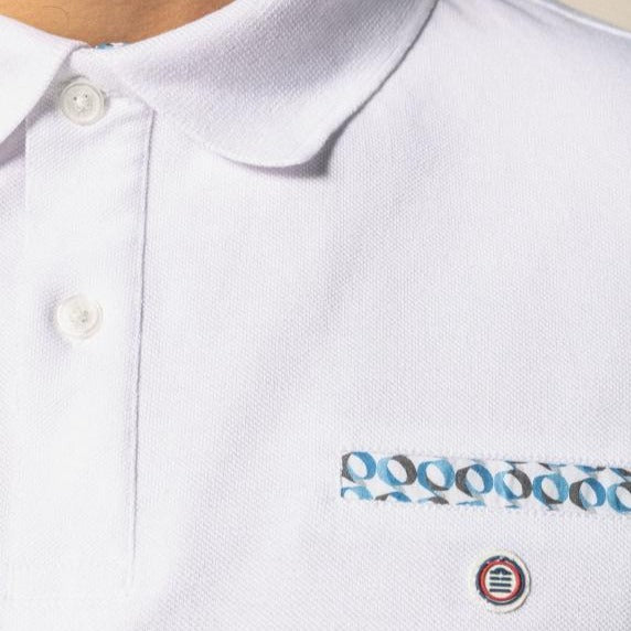 Contrast Pattern Polo S/S: White