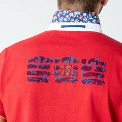 Floral Collar Jersey Polo: Rouge
