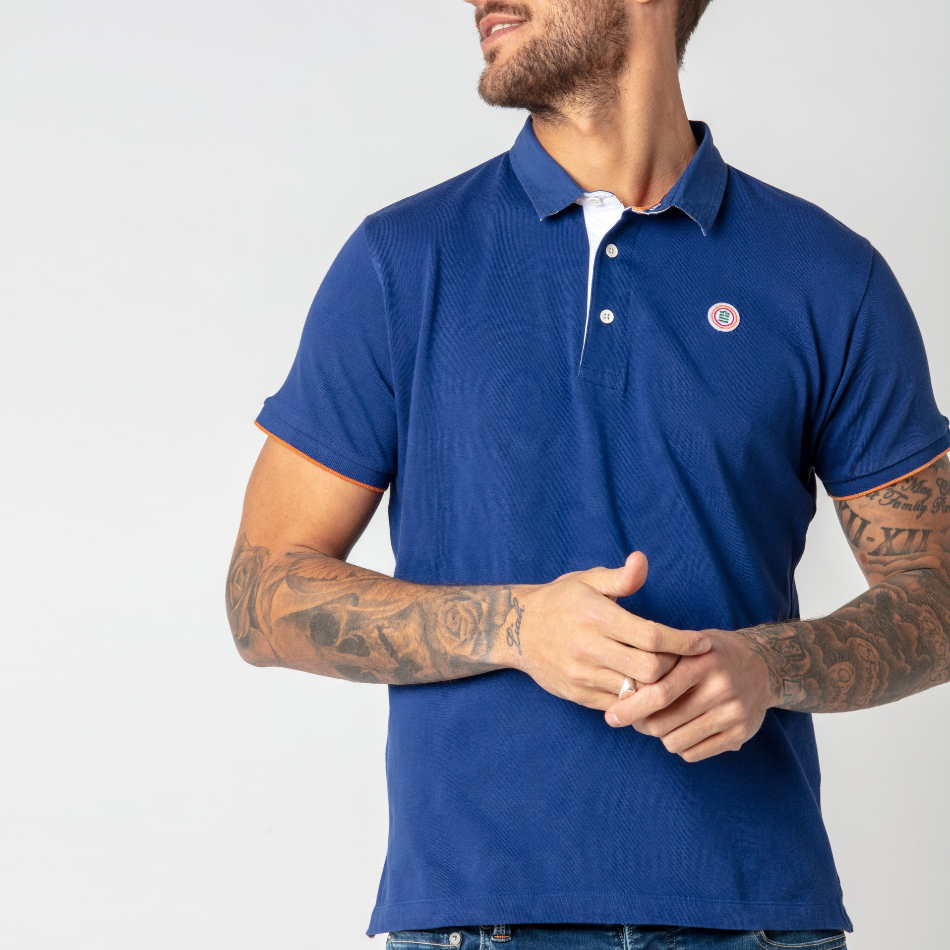 Floral Collar Jersey Polo: Marine