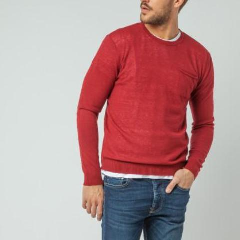 Rolled Pocket Alpaca Sweater: Burgundy