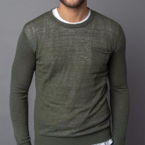 Rolled Pocket Alpaca Sweater: Militare Vert