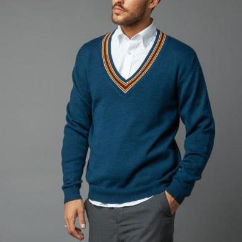 Multi-Colored V-Neck Sweater