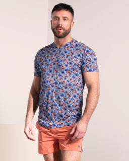Maze Floral Stems V Neck: Navy
