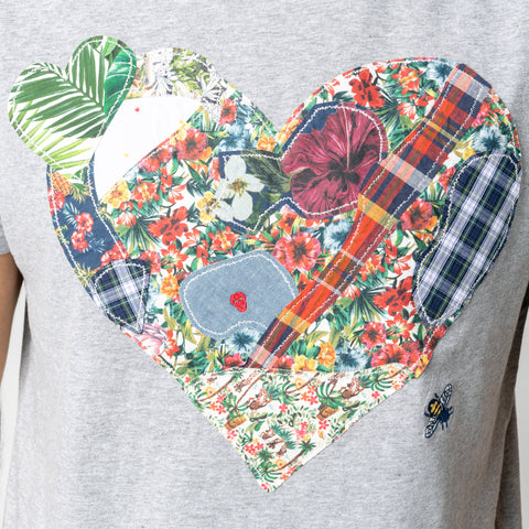 Patchwork Heart T-shirt: Heather Grey