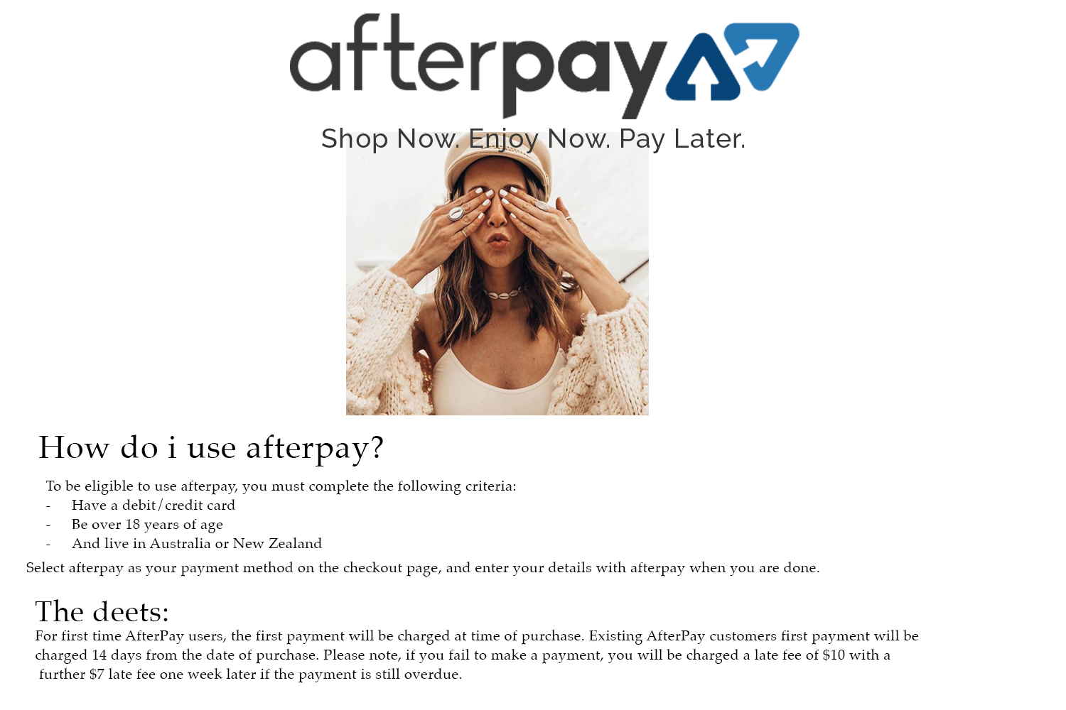Indie and Harper now uses AfterPay  Buy Now, Pay Later