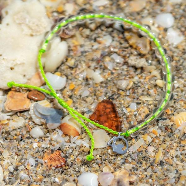 100% Recycled '4Ocean Lime - Sea Turtle' Bracelet. Bohemian Jewellery. Indie and Harper