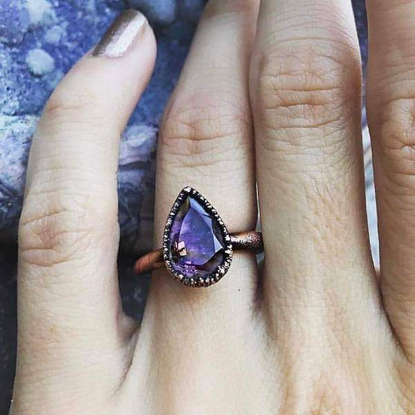 Amethyst Tear Drop and Copper Ring. Bohemian Jewellery. Indie and Harper