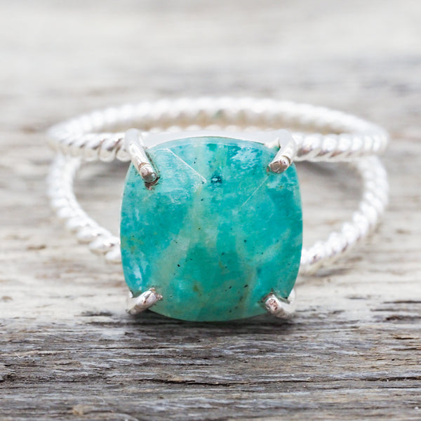Apatite Double Twist Ring. Bohemian Jewellery. Indie and Harper