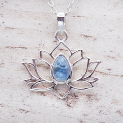 Aquamarine Lotus Necklace. Bohemian Jewellery. Indie and Harper