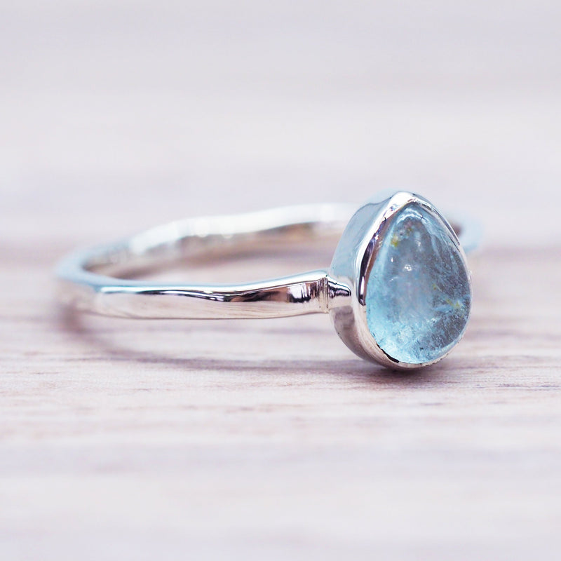 Aquamarine Ring. Women's Silver Jewellery. Indie and Harper