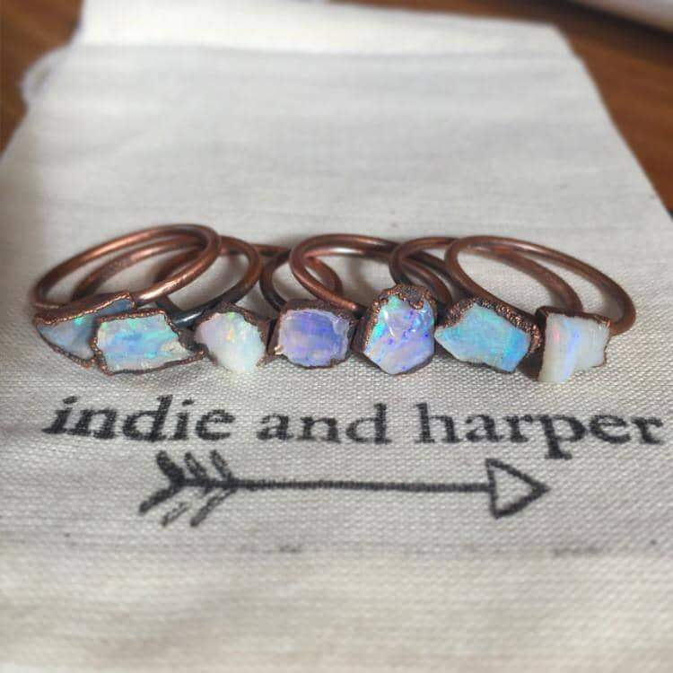 Australian Raw Opal and Copper Ring - Indie and Harper. Bohemian Gypsy Festival Jewellery. www.indieandharper.com