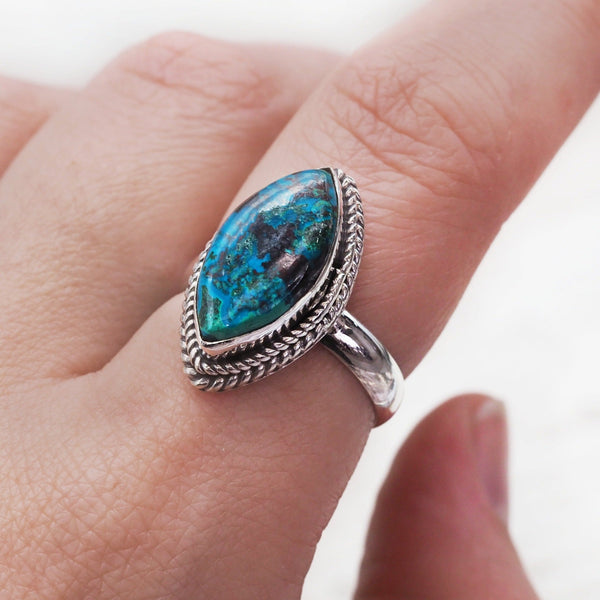 Azurite Twist Ring. Bohemian Jewellery. Indie and Harper