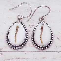 Beaded Cowrie Shell Earrings - Women's Jewellery - Indie and Harper