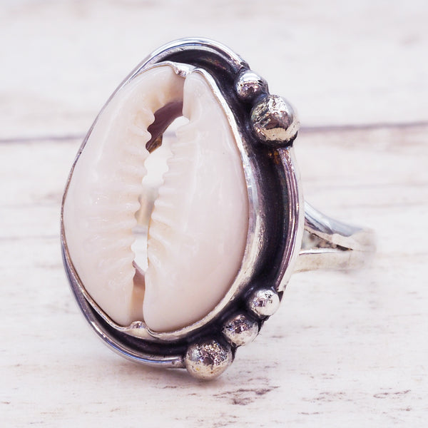 Beaded Cowrie Shell Ring - Women's Jewellery - Indie and Harper