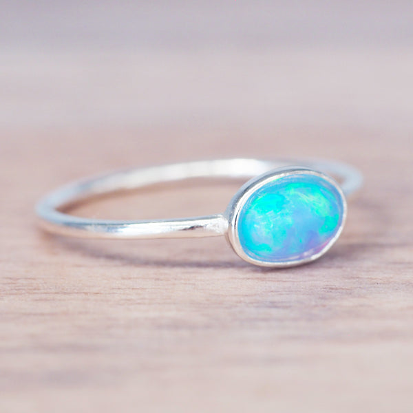 Blue Dainty Oval Opal Ring. Bohemian Jewellery. Indie and Harper