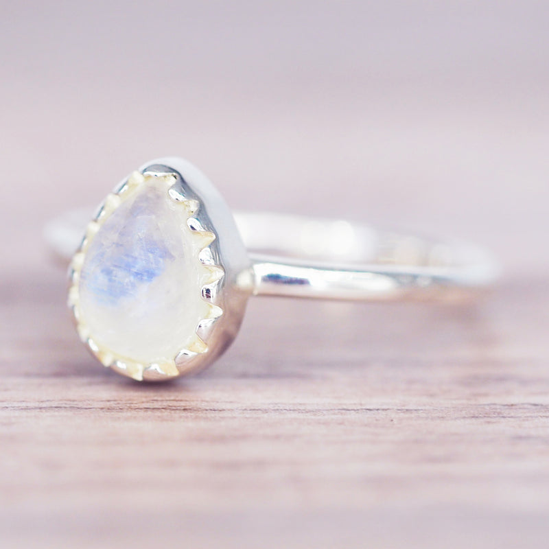 Classic Moonstone Droplet Ring - Women's Jewellery - Indie and Harper