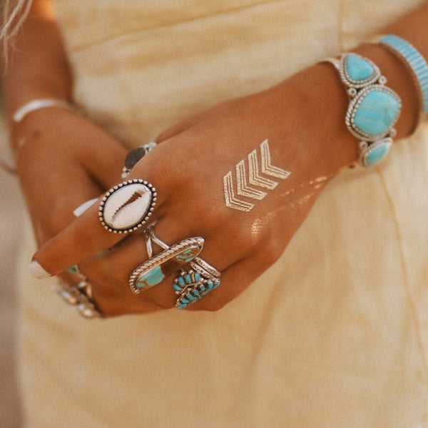 Cowrie Sea Shell Ring. Bohemian Jewellery. Indie and Harper