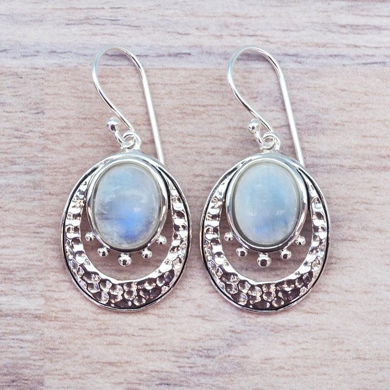 Crescent Moon Moonstone Earrings. Bohemian Jewellery. Indie and Harper