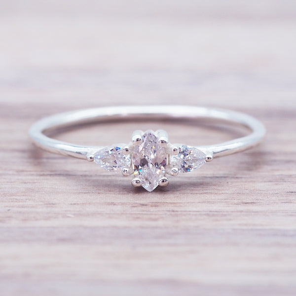 Dainty Cubic Zirconia Ring - Women's Jewellery - Indie and Harper
