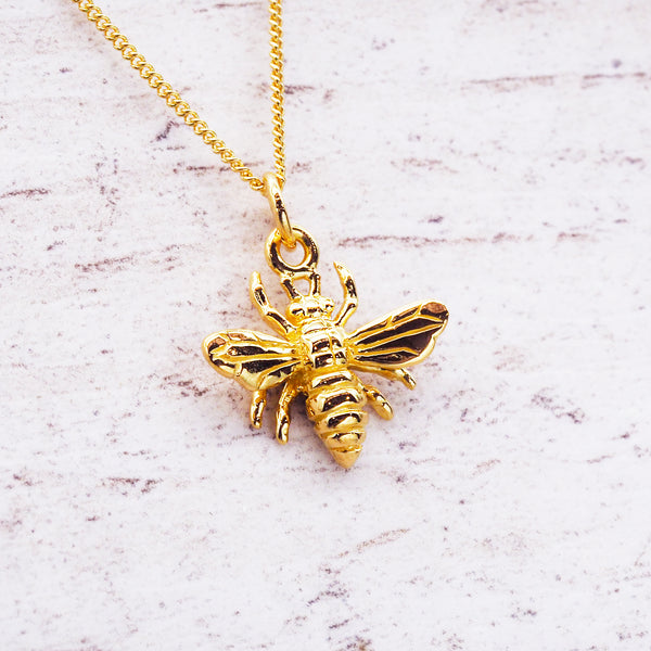 Dainty Gold Bee Pendant - Women's Jewellery - Indie and Harper