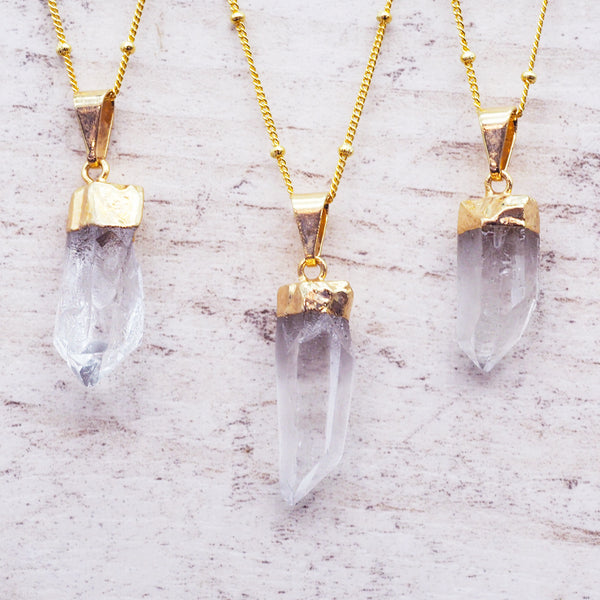 Dainty Gold Dipped Quartz Necklace - Women's Jewellery - Indie and Harper