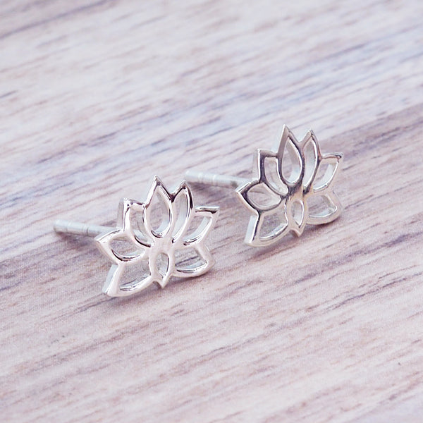 Dainty Lotus Flower Studs - Women's Jewellery - Indie and Harper