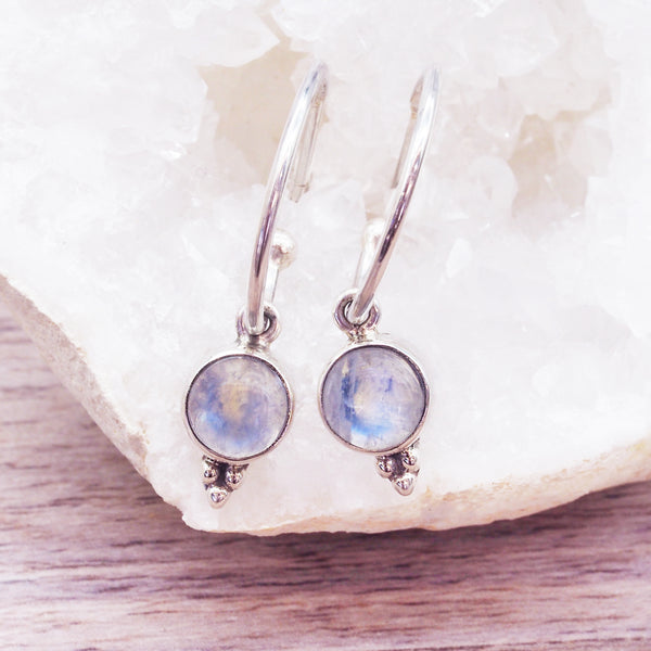 Dainty Moonstone Hoops - Women's Jewellery - Indie and Harper
