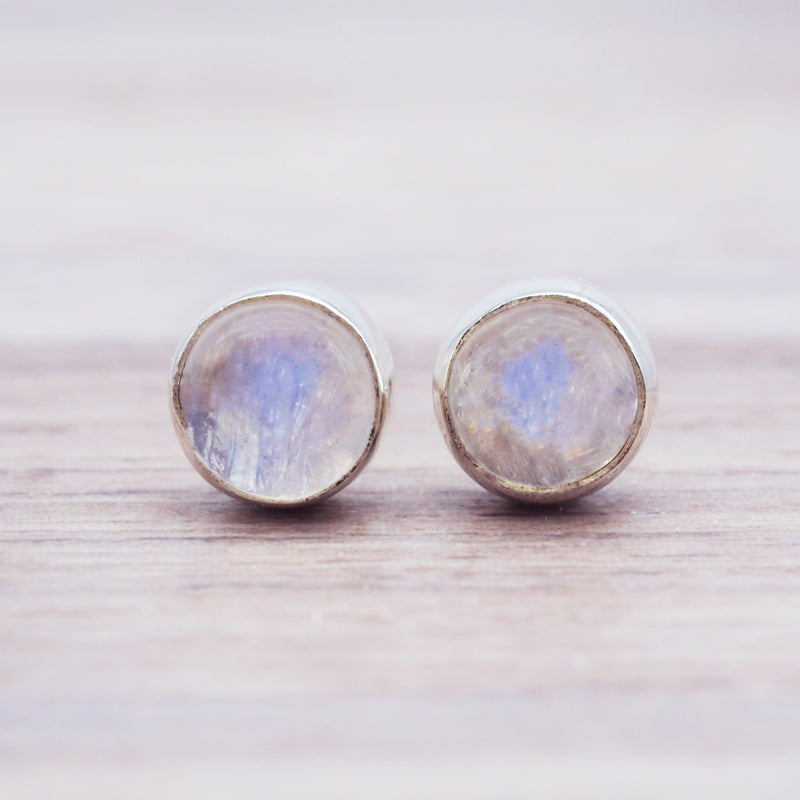 Dainty Moonstone Studs - Women's Jewellery - Indie and Harper