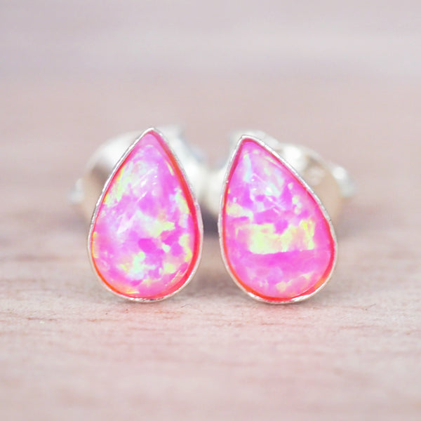 Dainty Pink Opal Droplet Earrings - Women's Jewellery - Indie and Harper