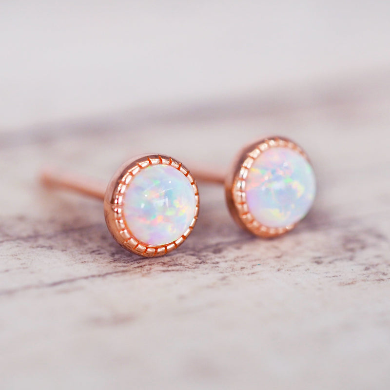 Dainty Rose Gold Opal Earrings - Women's Jewellery - Indie and Harper