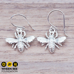 Dainty Silver Bee Earrings