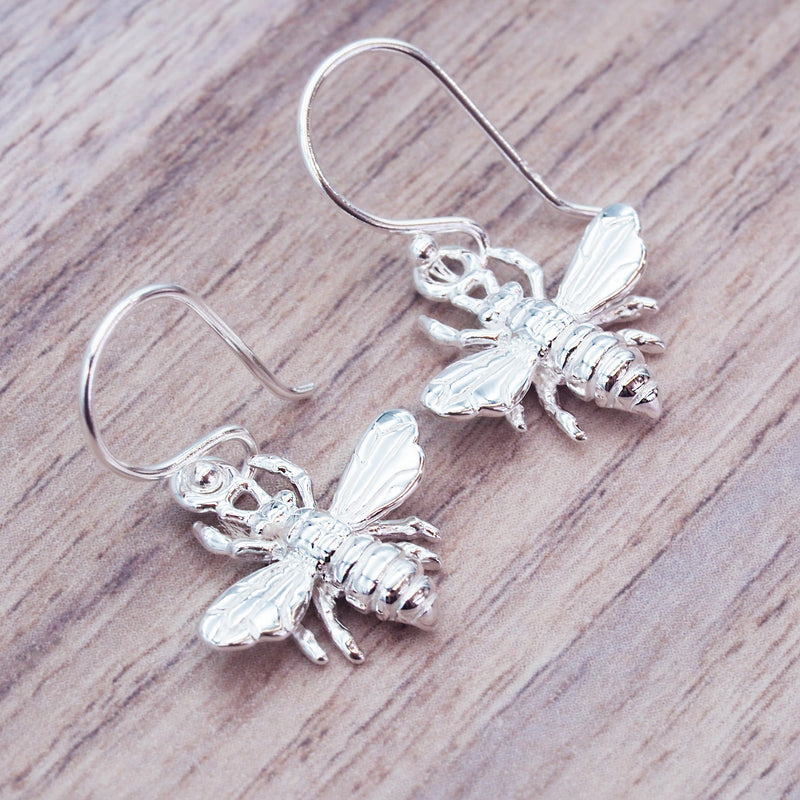 Dainty Silver Bee Earrings - Women's Jewellery - Indie and Harper