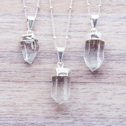 Dainty Silver Dipped Quartz Necklace - Women's Jewellery - Indie and Harper
