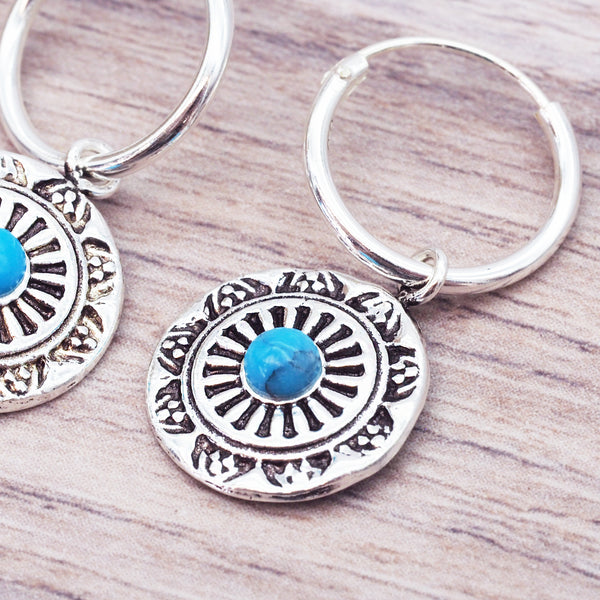 Dainty Turquoise Mandala Earrings - Women's Jewellery - Indie and Harper