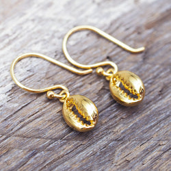 Dainty Gold Cowrie Shell Earrings. Bohemian Jewellery. Indie and Harper