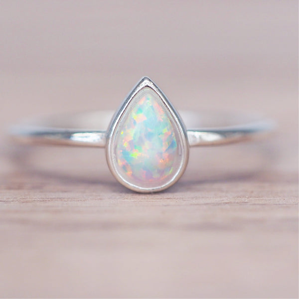 Dainty Opal Droplet Ring. Women's Jewellery. Indie and Harper
