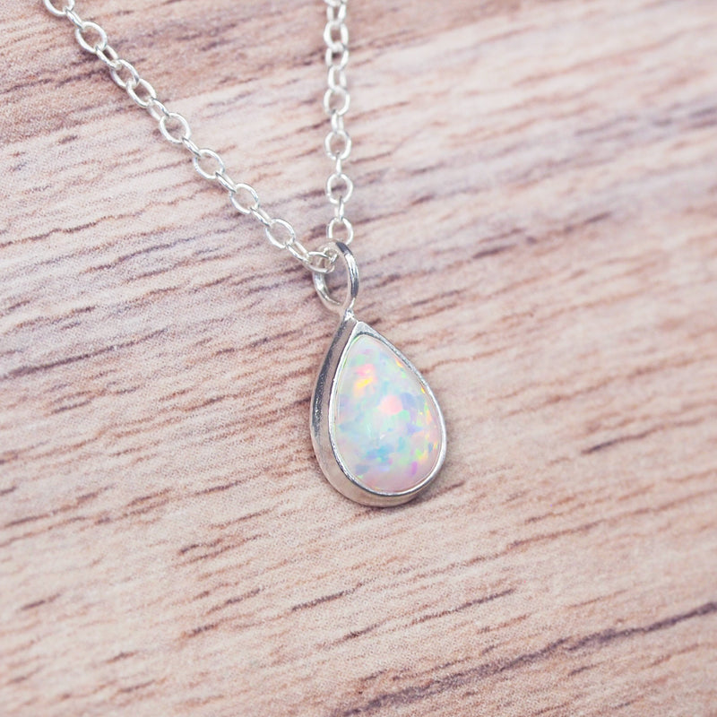 Dainty Opal Tear Drop Necklace. Bohemian Jewellery. Indie and Harper