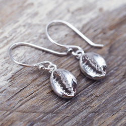 Dainty Silver Cowrie Shell Earrings. Bohemian Jewellery. Indie and Harper